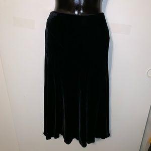Betsey Johnson Long Black Velvet Skirt Size 8